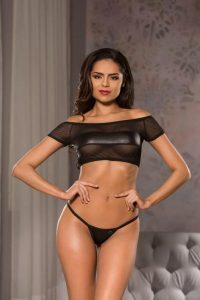Kitten Wet Look Crop Top and G-String S/M