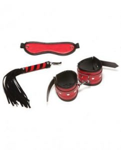 X-Play Red 3Pc Kit Mask Whip and Wrist Cuffs