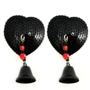Bijoux Nipple Covers Sequin Heart with Bells Black