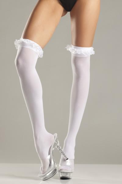 Sheer Thigh Stockings Lace Ruffle Garter Top