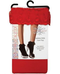 Ankle Socks Lace Tops Red O/S