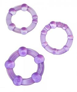 Textured Cockring Trio Purple Bulk
