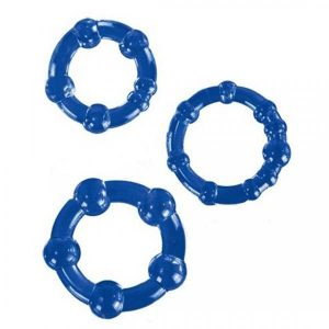 Textured Cockring Trio Blue Bulk
