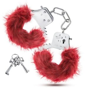 Temptasia Plush Fur Cuffs Burgundy Red