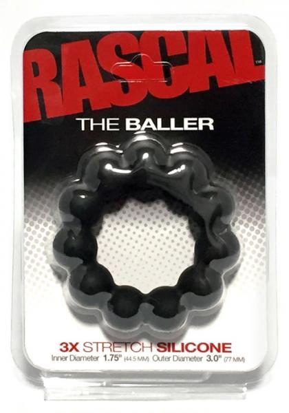 The Baller 3X Stretch Silicone Cock Ring Black