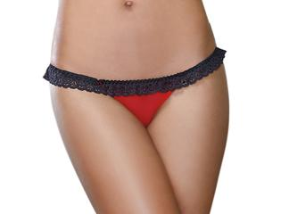 Stretch Mesh Spandex Open Back Panty Small Red Black