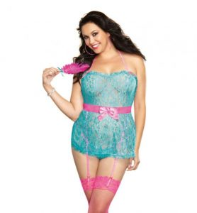 Babydoll Panty & Feather Turquoise Pink OQ