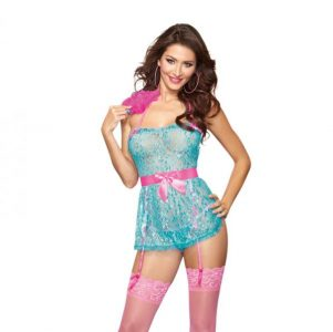 Babydoll Panty & Feather Turquoise Pink O/S