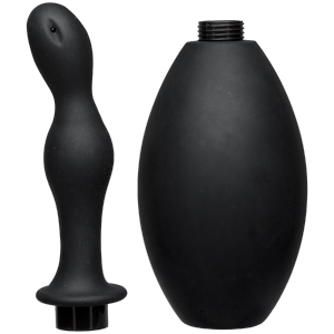 Kink Flow Flush Black Silicone Anal Douche & Accessory