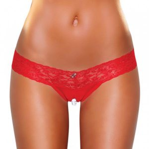 Crotchless Panties Pearl Beads Red S/M