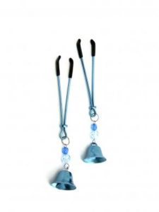 Nipple Clamps Tweezer W/Beads and Bell Blue