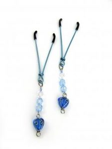 Nipple Clamps W/Beads And Heart Blue