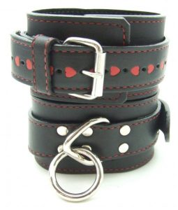H2H Restraint Wrist Leather Black with Red Hearts