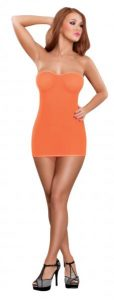 Club Seamless Mesh Tube Dress & G-String Neon Orange O/S
