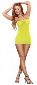 Club Seamless Neon Tube Dress & G-String Yellow O/S