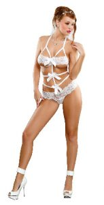Lace Bow Teddy White S/M (Bands Of Lace)