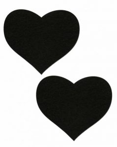 Heart Sweety Hearts Black Pasties O/S