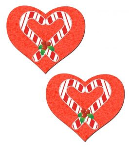 Candy Cane Red Heart Pasties O/S