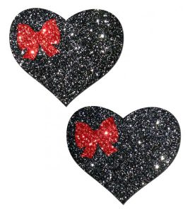 Sweety Black Glitter Heart With Red Glitter Bow