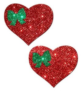 Pastease Sweety Red Glitter Heart with Green Glitter Bow