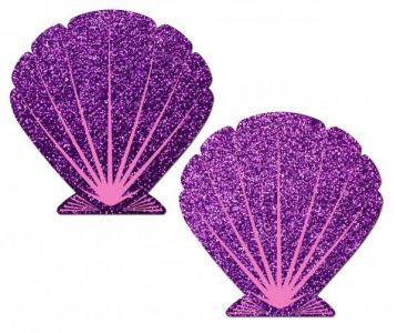 Mermaid Glitter Purple & Pink Seashell Pasties O/S