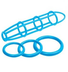 Neon Silicone Cage & Love Ring Set Blue
