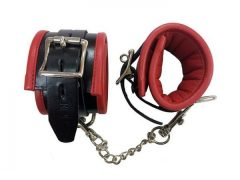 Rouge Padded Leather Wrist Cuffs Black Red
