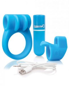 Screaming O Charged Combo #1 C Ring & Finger Sleeve Blue