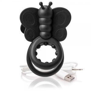 Charged Monarch Wearable Butterfly Black Vibrating Ring