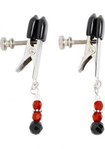 Red Beaded Clamps With Broad Tip Nipple Clamps Red
